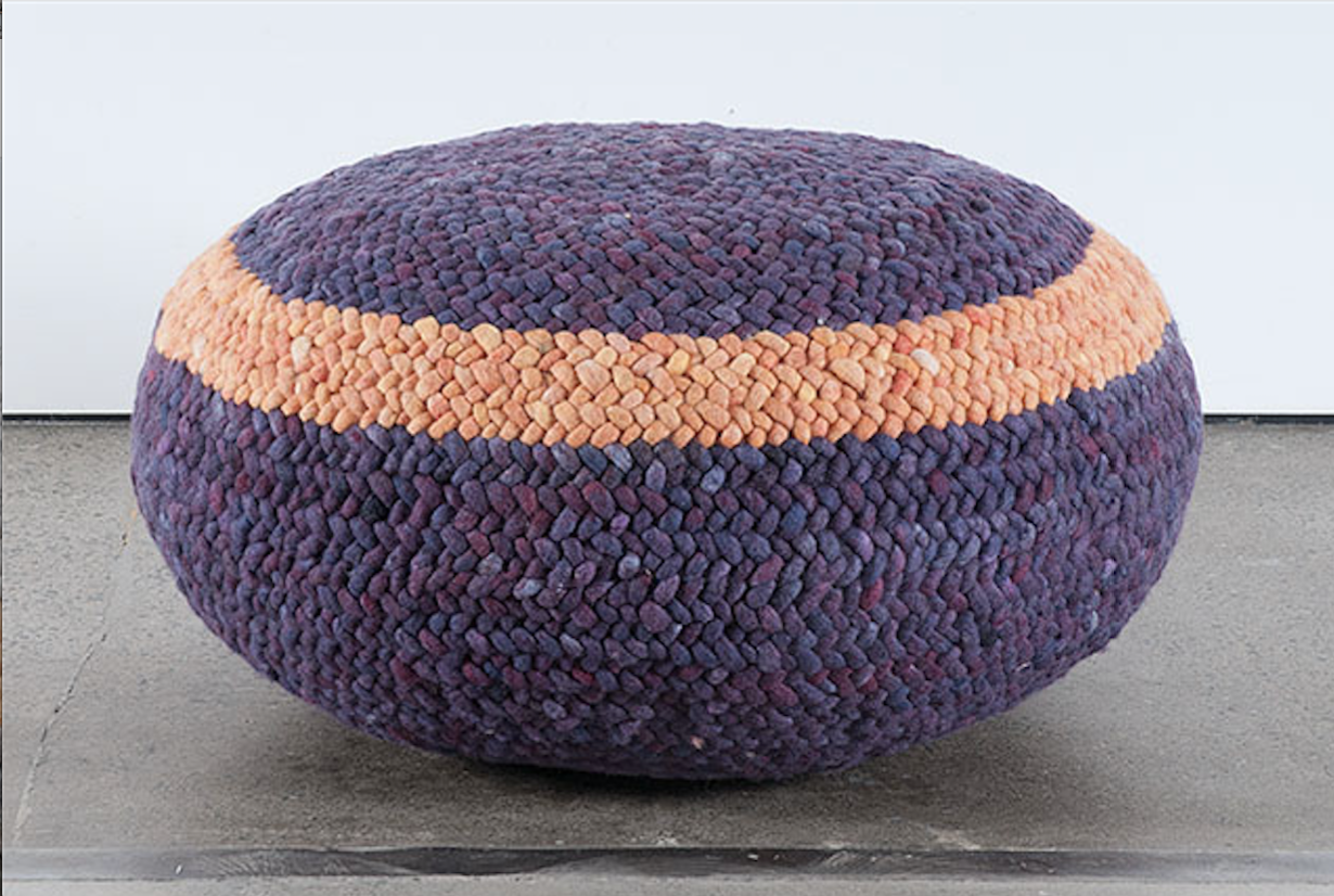Braided Pouf- Purple and Orange Striped
