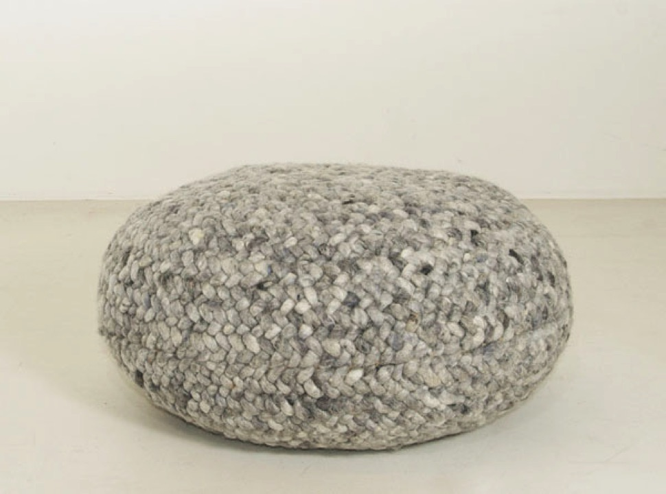 Braided Pouf- Medium Grey